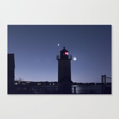 Moon Venus and the Annisquam Lighthouse Canvas Print