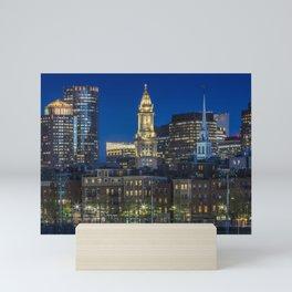 BOSTON Evening Skyline of North End & Financial District Mini Art Print