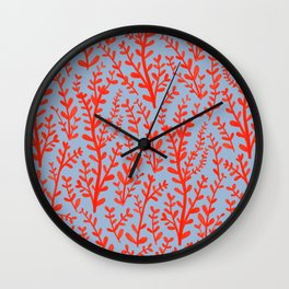 Pale Blue and Red Leaves Hand-Painted Pattern Wall Clock