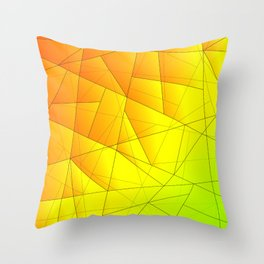 Bright summer pattern of yellow and green triangles and irregularly shaped lines. Throw Pillow
