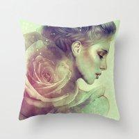 kpop Throw Pillows featuring June by Anna Dittmann