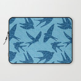 Swallows in Flight, Cobalt and Pale Blue Laptop Sleeve