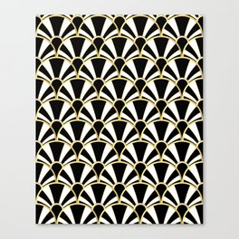 Black, White and Gold Classic Art Deco Fan Pattern Canvas Print