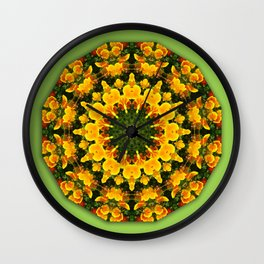 California Poppies 003.3, Floral mandala-style Wall Clock