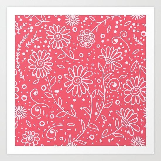 Red doodle floral pattern Art Print