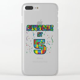 5th Birthday Gift Awesome At 5 Years Blocks Brick  Clear iPhone Case