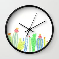 cacti Wall Clocks featuring Cacti by mirtle