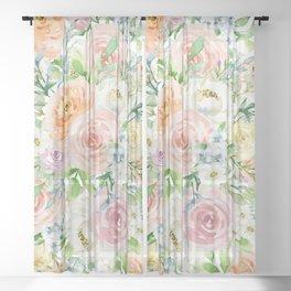 Pastel romantic garden Sheer Curtain