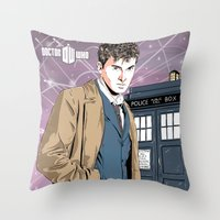 david tennant Throw Pillows featuring Doctor Who - David Tennant by Averagejoeart
