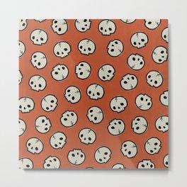 Skull Pattern (ORANGE) Metal Print