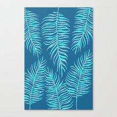 Fern Pattern On Blue Background Canvas Print