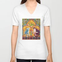 golden girls V-neck T-shirts featuring Golden Temple of the Good Girls by Susan Carlson