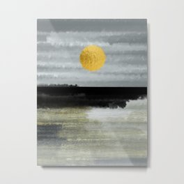 Golden Sunset Minimal Watercolor Metal Print