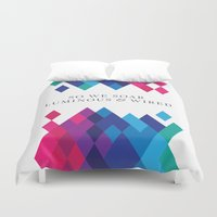 coldplay Duvet Covers featuring So We Soar Luminous & Wired by Arnaldo Quintini