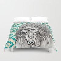 calavera Duvet Covers featuring Calavera Skull by MY  HOME