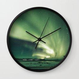 Aurora borealis in iceland Wall Clock