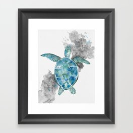 Bright Turtle in watercolor Framed Art Print