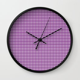 Purple Gingham Checkered Pattern Wall Clock
