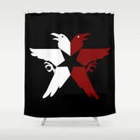 infamous Shower Curtains featuring Infamous: Second Son - Jacket Bird Logo (Solid) by Dsavage94