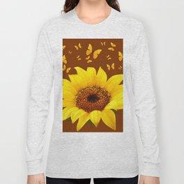 COFFEE BROWN YELLOW SUNFLOWER & BUTTERFLIES Long Sleeve T-shirt