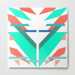 Neon Grapefruit and Electric Mint Shapes Doubled Metal Print