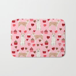 Akita valentines day cupcakes dog breed hearts pet portrait akitas pet friendly Bath Mat
