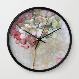 Pastel Dried Hydrangea Wall Clock