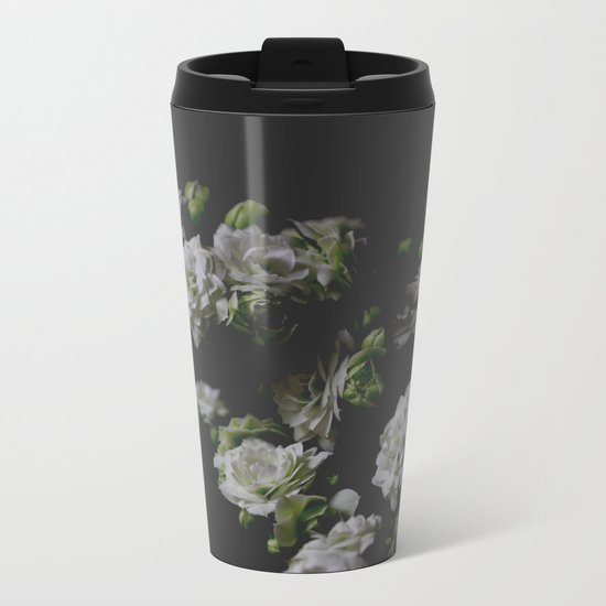 White Kalanchoe Metal Travel Mug