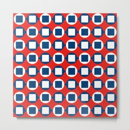 Bead Pattern - Red White & Blue Metal Print