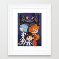 evangelion Framed Art Prints featuring Evangelion by Sara Michieli