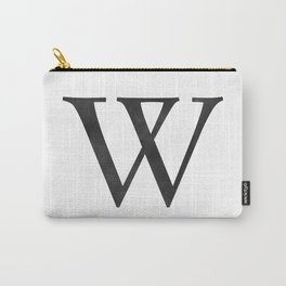 Letter W Initial Monogram Black and White Carry-All Pouch
