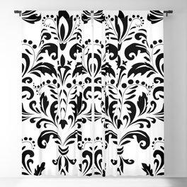 Bold Black & White Damask Pattern Blackout Curtain