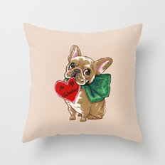Be My Valentine Frenchie Throw Pillow