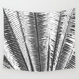 Black and White Modern Tropical Palm Fronds Wall Tapestry