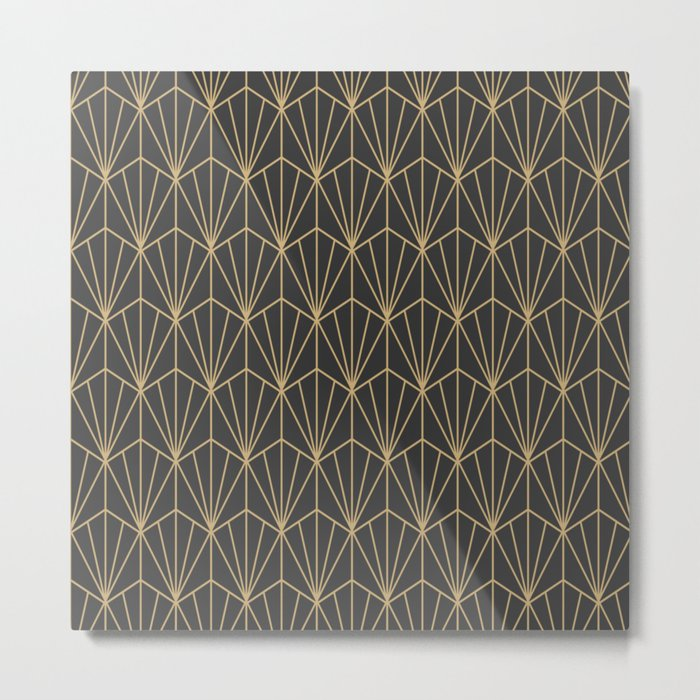 Art Deco Vector in Charcoal and Gold Metal Print