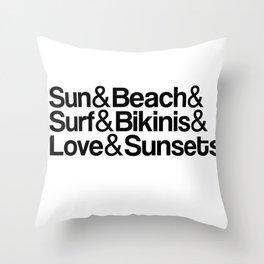 Sun, surf, bikinis Throw Pillow