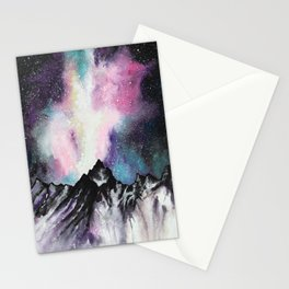 """Starruption"" Watercolor Mountain Scene Stationery Cards"