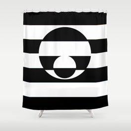 B&W Stripe Disco Shower Curtain