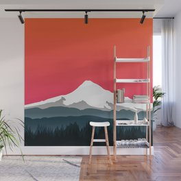 Mount Hood Winter Forest - Sunset Wall Mural