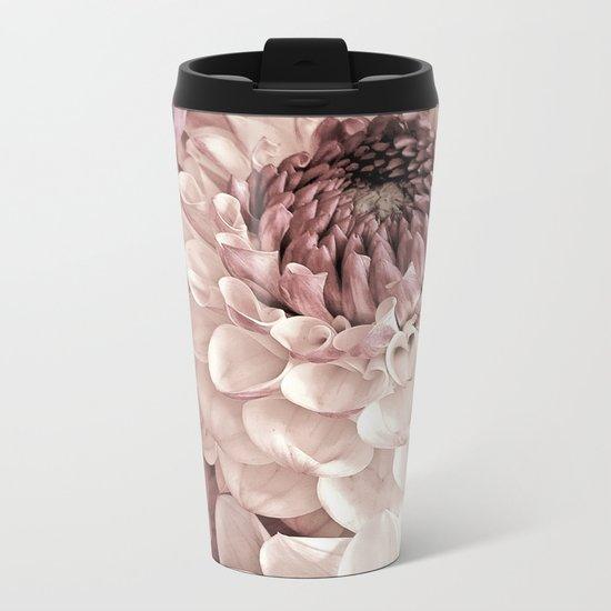 Romantic Pastel Dahlias Metal Travel Mug