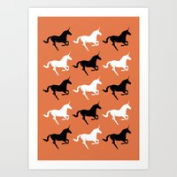 unicorns Art Prints featuring Unicorns by Fabian Bross