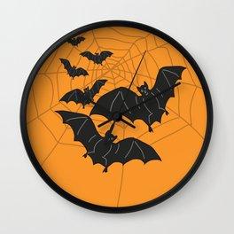 Flying Bats orange Wall Clock