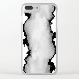 White Gray and Black Monochrome Graphic Cloud Effect Clear iPhone Case