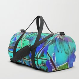 Neon Blue Houses Duffle Bag