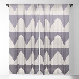Geometric Pyramid Pattern - Purple Gradient Sheer Curtain