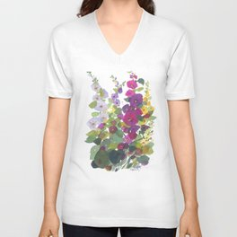 Purple Hollyhock Garden Unisex V-Neck