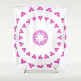 PINK HEART MANDALA Shower Curtain