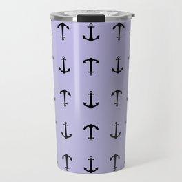 Anchors Away - Pastel Blue Anchor Nautical Pattern Travel Mug