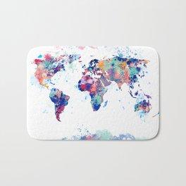 Coloful Splatter World Map Bath Mat