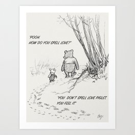 How Do You Spell Love? - Piglet & Pooh Bear Art Print
